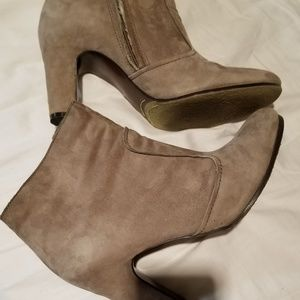 Grey suede leather heeled ankle boots